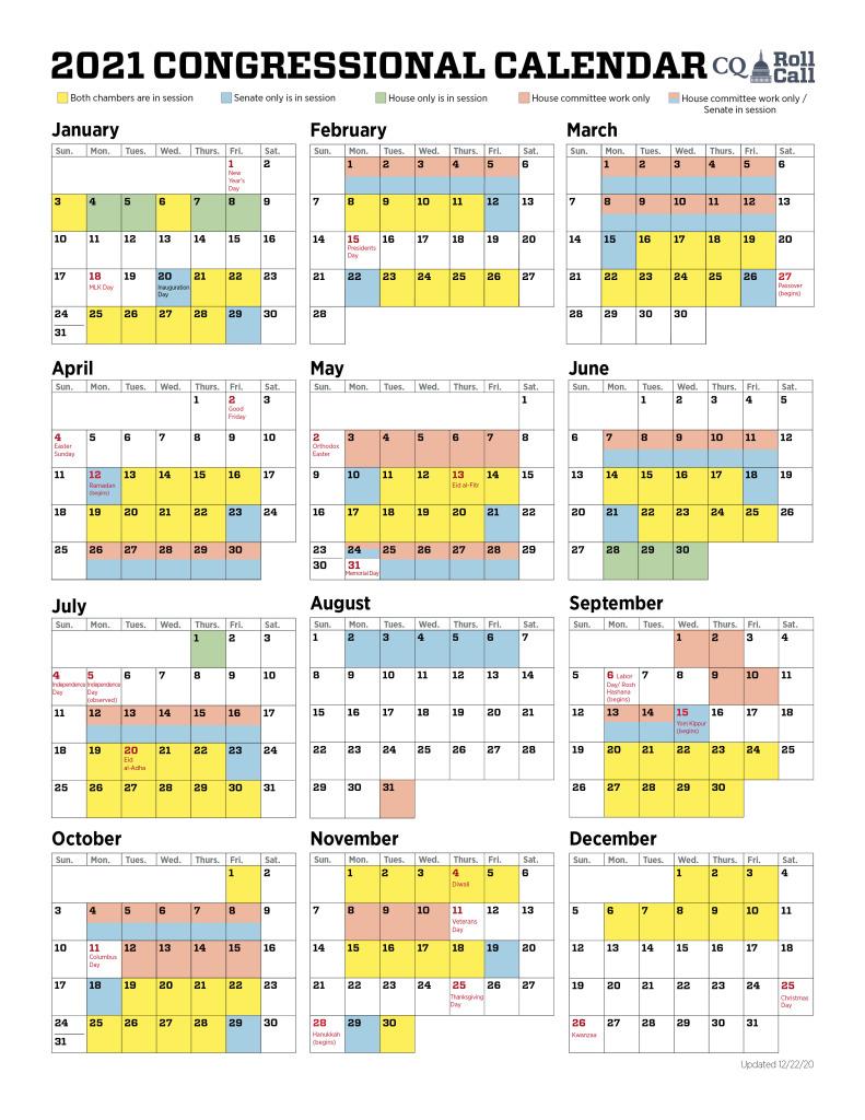 2022 Congressional Calendar.Online Legislative Service